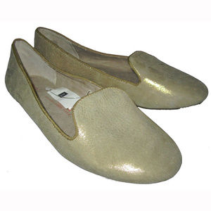 Gap Gold Metallic Leather Loafers Ballet Shoes